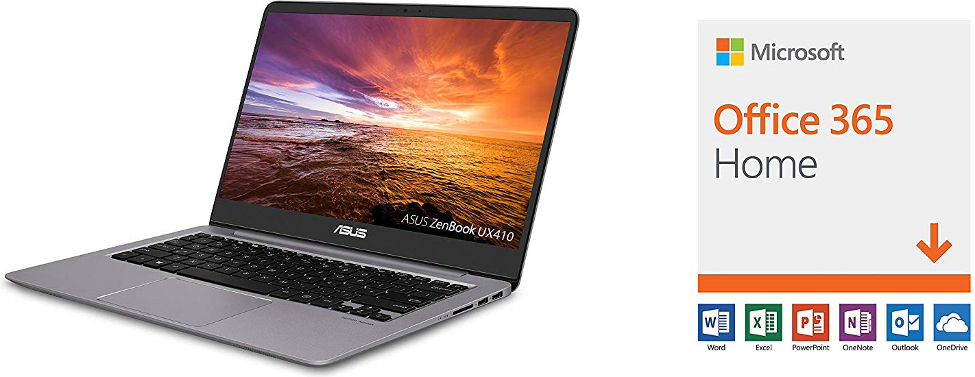 "ASUS ZenBook Ultra-Slim Laptop - 14"" FHD IPS WideView Display, Intel Core i7-8550U CPU, 8GB DDR4, 128GB SSD + 1TB HDD, Windows 10, Backlit keyboard, 3.1lbs, Quartz Grey - UX410UA-AS74 with Microsoft Office 365 Home"