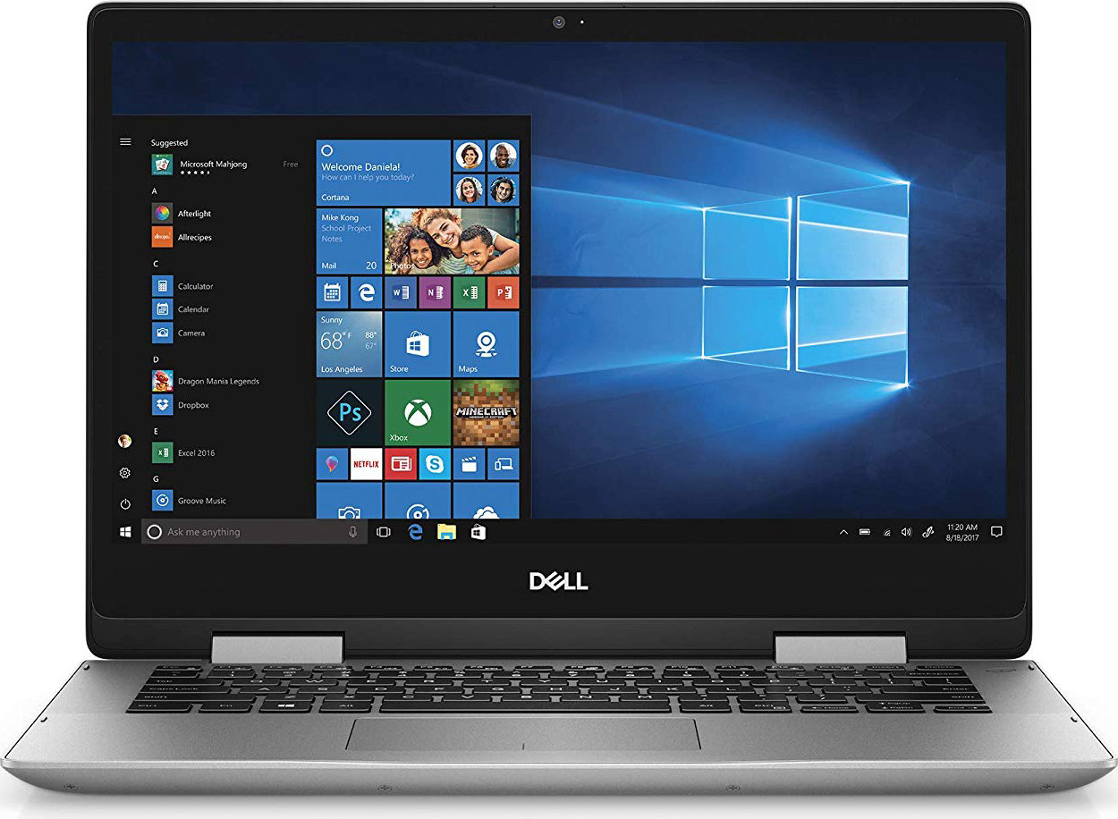 "Dell Inspiron 2-in-1 Laptop LED-Backlit Touch Display, i7-8565U, 8GB 2666MHz DDR4, 256 GB m.2 PCIe SSD, 14"", Silver, Alexa Built-In (i5482-7069SLV-PUS)"