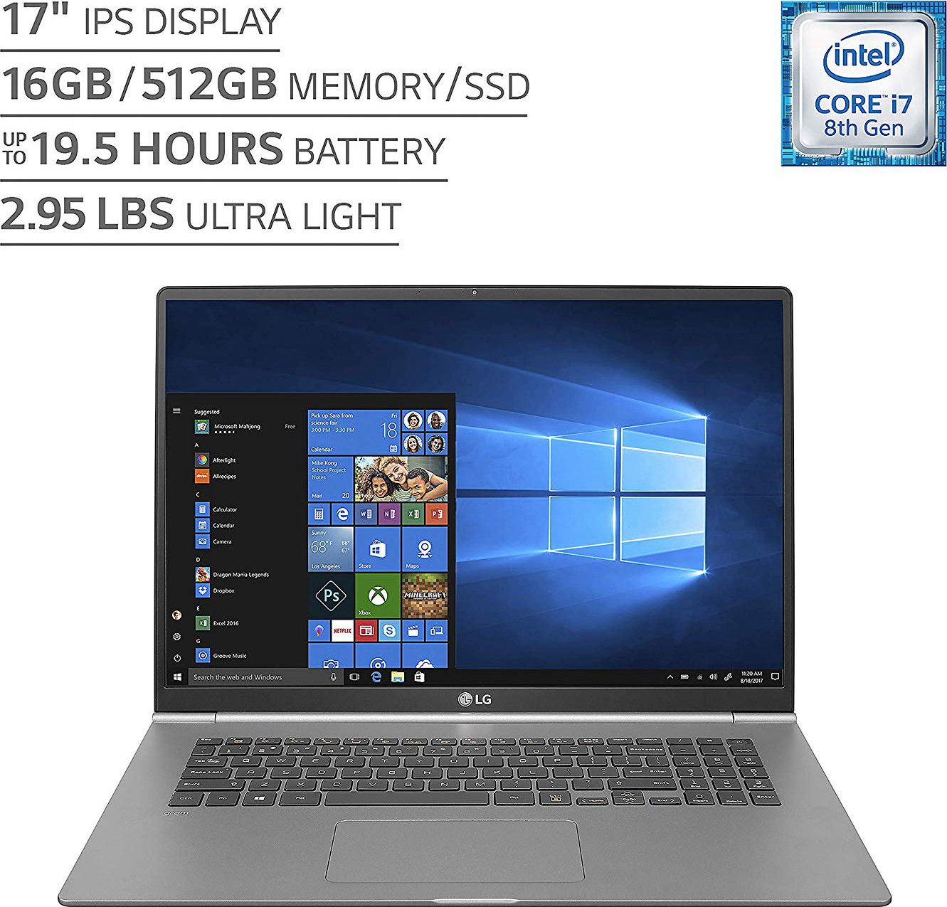 "LG gram Thin and Light Laptop - 17"" (2560 x 1600) IPS Display, Intel 8th Gen Core i7, 16GB RAM, 512GB SSD, up to 19.5 Hour Battery, Thunderbolt 3 - 17Z990-R.AAS8U1 (2019), Dark Silver"