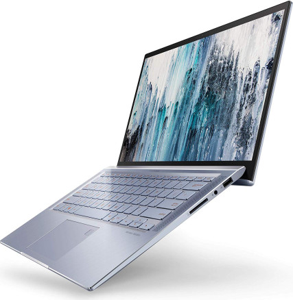 "ASUS ZenBook 14 Ultra Thin & Light Laptop, 4-Way NanoEdge 14"" Full HD, Intel Core i7-8565U, 8GB DDR4 RAM, 512GB NVMe PCIe SSD, Wi-Fi 5, Windows 10, Silver Blue, UX431FA-ES74"
