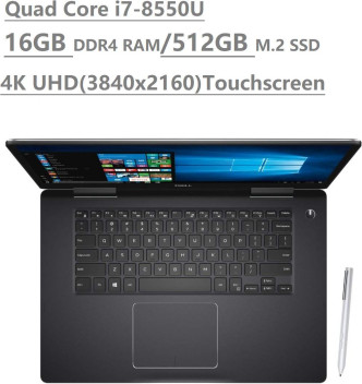 "2019 Dell Inspiron 15 7000 7573 15.6"" 4K UHD Touchscreen (3840x2160) 2-in-1 Laptop (Intel Quad-Core i7-8550U, 16GB DDR4, 512GB M.2 SSD, MX130 2GB) Backlit, HDMI, Type-C, Bluetooth, Windows 10"
