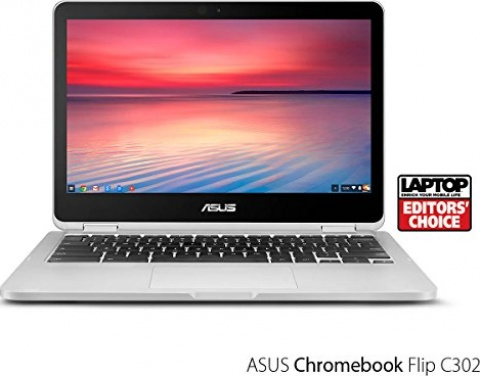 "ASUS Chromebook Flip C302 2-In-1 Laptop- 12.5"" Full HD 4-Way NanoEdge Touchscreen, Intel Core M7 Processor, 8GB RAM, 64GB Flash Storage, USB Type C, All Metal Body, Chrome OS- C302CA-AH74 Silver"